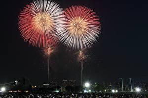 Fondos de Pantalla Fuegos artificiales Japón Tokio Noche Ciudades
