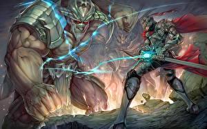 Hintergrundbilder Schlacht Krieger Ungeheuer Rüstung Helm Schwert Fantasy