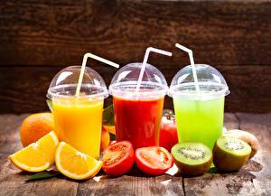 Image Juice Tomatoes Kiwi Orange fruit Highball glass Three 3 Food