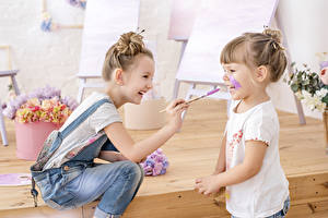 Picture Little girls Two Smile Jeans Children