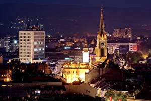 Pictures Houses Serbia Night Novi Sad Cities