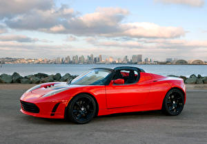 Fotos Tesla Motors Rot Metallisch Cabrio Roadster 2010-16 Roadster Sport