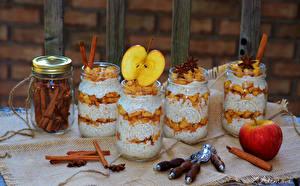 Images Sweets Apples Cinnamon Jar Spoon Food