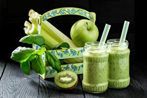 Wallpapers Drinks Kiwi Apples Jar Two Leaf Food