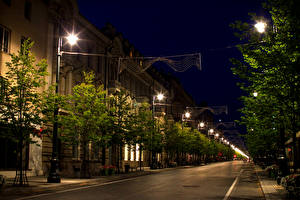 Pictures Lithuania Houses Roads Vilnius Street Night time Street lights