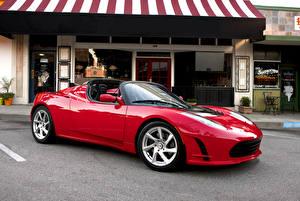 Fotos Tesla Motors Rot Metallisch Cabriolet Roadster 2010-16 Roadster Sport