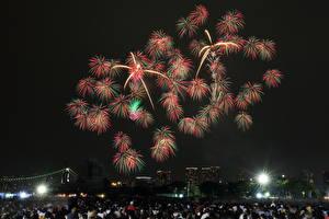 Fondos de Pantalla Fuegos artificiales Tokio Japón Noche Ciudades