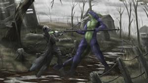 Image Warriors Battles Supernatural beings Two Spear Fantasy