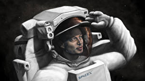 Bureaubladachtergronden Ruimtevaarder Getekende Elon Musk, SpaceX Ruimte
