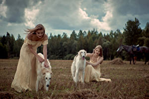 Photo Dogs Sighthound 2 Dress young woman Animals