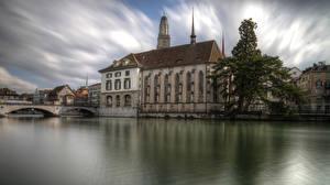 Pictures Switzerland Temples Lake Bridges Cathedral Zurich