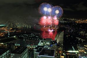 Pictures Fireworks Houses Japan Night time From above Yokohama Cities