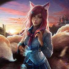 Pictures League of Legends Ahri Necktie Nine-Tailed Fox Games Girls Fantasy