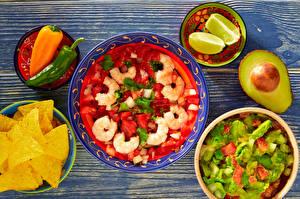 Bilder Salat Krevette Peperone Zitrone Obst Gemüse Kartoffelchips Lebensmittel