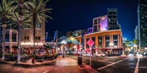 Fotos USA Haus San Diego Straße Straßenlaterne Nacht Städte