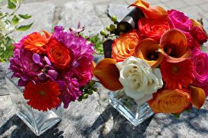 Pictures Bouquets Marsh wild calla Roses Gerberas Dahlias 2 Flowers