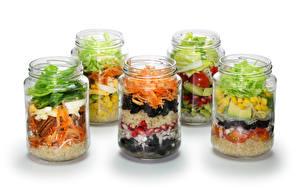 Photo Vegetables Salads Jar White background Food