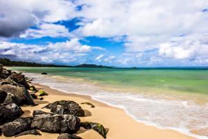 Pictures Coast Stone Ocean Hawaii Clouds Beaches Nature