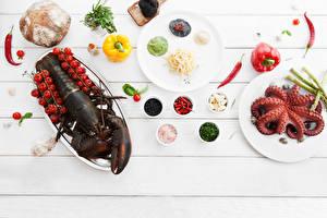 Fotos Meeresfrüchte Hummerartige Brot Gemüse Tomate Paprika Lebensmittel