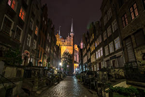 Image Poland Houses Temple Gdańsk Night time Street Street lights Cities