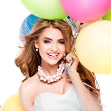 Hintergrundbilder Schmuck Halskette Braune Haare Lächeln Mädchens