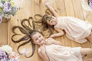 Image Little girls 2 Hair Brown haired Frock Heart child