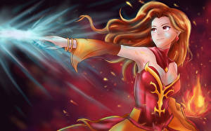 Pictures DOTA 2 Lina Sorcery Warriors Redhead girl Games Fantasy