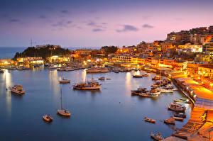 Fotos Griechenland Küste Abend Haus Seebrücke Motorboot Segeln Athens Städte
