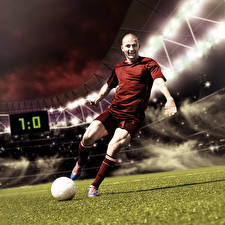 Pictures Footbal Men Ball Knee highs Sport