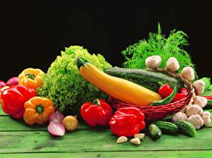 Hintergrundbilder Gemüse Paprika Knoblauch Gurke Dill das Essen
