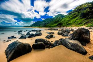 Photo Tropics Coast Stones USA Hawaii Clouds Beaches Nature