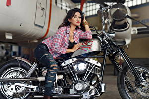 Pictures Jeans Formal shirt Girls Motorcycles