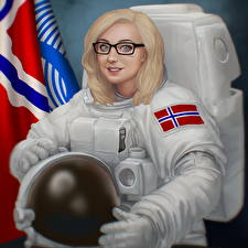 Pictures Pictorial art Cosmonauts Blonde girl Eyeglasses Helmet June Jenssen, Self Portrait