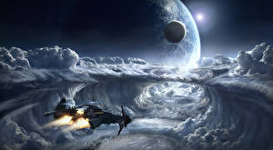 Bureaubladachtergronden Star Citizen Schepen Planeten Wolken Computerspellen Ruimte Fantasy