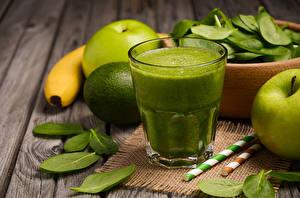Wallpapers Juice Apples Lime Highball glass Foliage Green Food