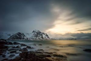 Photo Norway Sea Mountain Stones Scenery Lofoten Nature