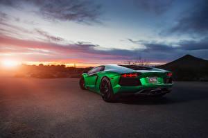 Hintergrundbilder Lamborghini Grün Hinten Aventador Autos