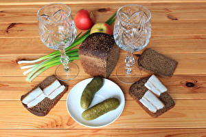 Picture Still-life Bread Cucumbers Apples Salo - Food Shot glass Two Food