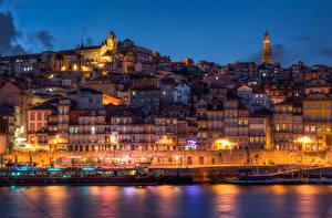 Tapety na pulpit Portugalia Budynki Przystań Porto W nocy Latarnia uliczna Miasta