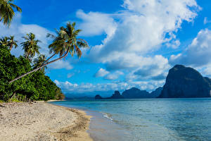 Images Philippines Scenery Tropics Coast Mountain Sky Sea Palms Sand Clouds Nature