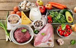 Bilder Fleischwaren Pilze Käse Milch Tomaten Gemüse Obst Knoblauch Hühnerfleisch Krüge das Essen