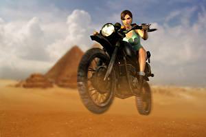 Bakgrundsbilder på skrivbordet Tomb Raider Anniversary Tomb Raider Lara Croft Motorcyklist spel Unga_kvinnor Motorcyklar
