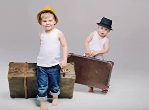 Pictures Boys 2 Hat Suitcase Singlet Jeans Children