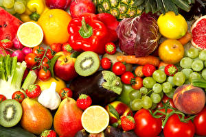 Wallpapers Fruit Vegetables Bell pepper Tomatoes Grapes Peaches Citrus Berry Food