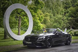 Bilder Mercedes-Benz Brabus Schwarz Cabriolet Metallisch 2016 Brabus 850 Cabriolet (A217) Autos