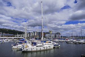 Wallpaper Sailing Marinas Yacht Clouds Wales Swansea