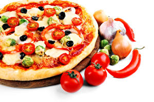 Pictures Fast food Pizza Tomatoes Bell pepper Allium sativum Onion White background Food