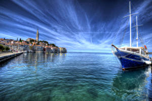 Image Croatia Sea Houses Sky Sailing Yacht Rovin Cities
