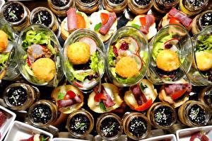 Fotos Butterbrot Salat Süßigkeiten Viel Lebensmittel