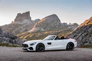 Bilder Mercedes-Benz Weiß Metallisch Roadster 2016 AMG GT Roadster